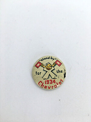 Vintage Button Pinback Standby for the 1934 Chevrolet