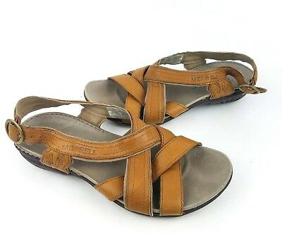dc9fbd9b8b7a Merrell Bassoon Sandals Women s 6 Flat Leather Buckle Slingback Shoes Brown