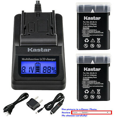 Kastar Battery LCD Fast Charger for NIKON D5100 D5200 D5300 905-19023-00000-01
