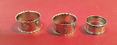 """3 Napkin Rings - 1 Marked Sterling - 2 New With """"Made in Italy"""" Stickers"""