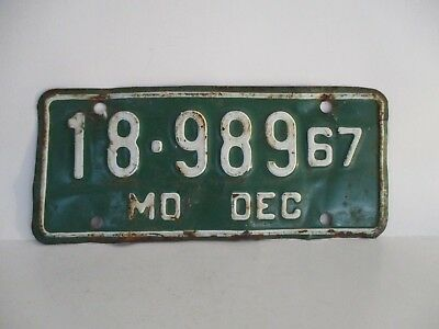 """Vintage 1967 Missouri Motorcycle Plate """"Free Shipping"""""""