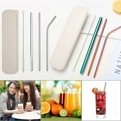 Stainless Steel Metal Drinking Straw Reusable Straws + Cleaner Brush Set Kit  #T