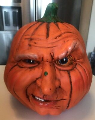 Vintage Halloween Ceramic Pumpkin 1988 Halloween Face Jack O Lantern Decoration