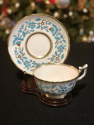 Vintage Royal Chelsea ENGLAND White, Blue & Gold Bone China Cup Saucer