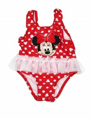 Minnie Mouse One Piece Swimsuit Girls 0-3 Months Polka Dot UPF 50+ Disney NEW