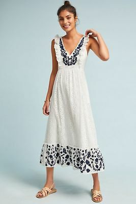 78ca82d4b80c NWT Anthropologie Embroidered Eyelet Midi Dress by Allison New York Size  Large