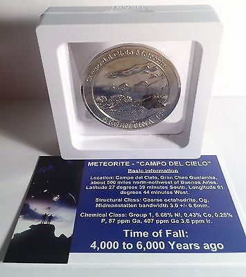 """""""RARE"""" Meteorite Medallion/Coin 45mm with Info/Cert and Display Stand Silver HSE"""