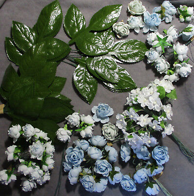Lot of Vintage Floral Craft & Millinery Flowers - Blue & White Roses & Leaves