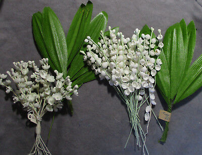 Lot of Vintage Floral Craft & Millinery Flowers - Lilies-of-the-Valley & Leaves