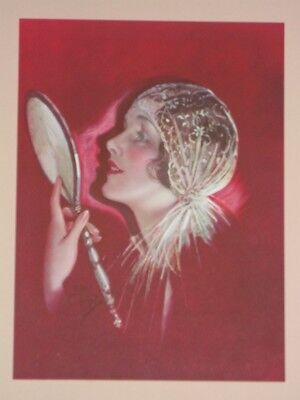 1920's ART DECO FLAPPER HOLDING A HAND MIRROR by EARL CHRISTY ~ STUNNING