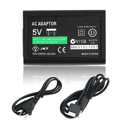 For Sony PS Vita PSV AC Power Adapter Supply Convert Charger + USB Data Cable ZH