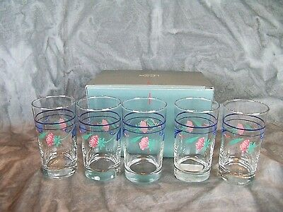 Mint In Box Lenox Poppies On Blue SET OF 5 JUICE GLASSES Superb