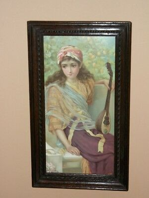 1910's FRAMED  LADY WITH LUTE or MANDOLIN ~ ART NOUVEAU ~ VERY NICE