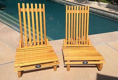 2 Vintage Wood Beach Slat Chairs