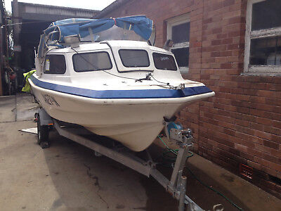 17' Half Cabin Swiftcraft F/Glass, Good Hull & Trailer Only, NO MOTOR Project