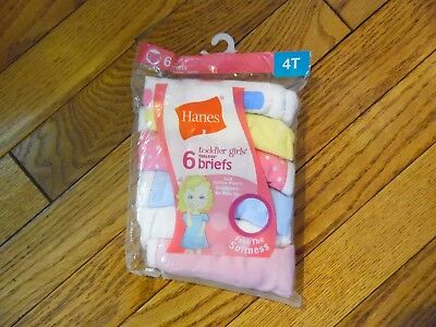 Toddler Girls Hanes Briefs 6 Pack Size 4T NIP