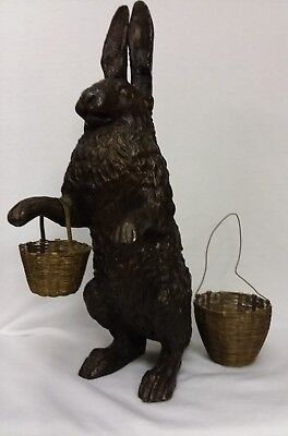 Edwardian Bronze Rabbit Hare Statue with Wire Baskets