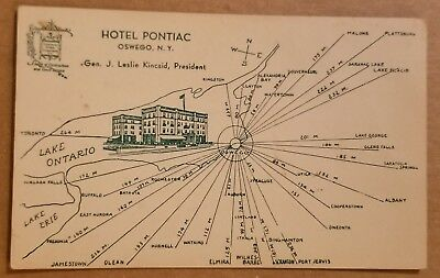 Postcard: Hotel Pontiac Oswego, NY Drawn Map & Building (Photo Era 1939+)