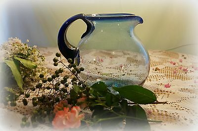 Vintage/Antique Hand Blown Large Blue Glass Pitcher