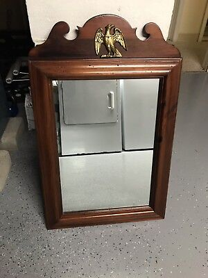 ETHAN ALLEN 43-1177 Antique Pine Old Tavern 18x29 Wall Mirror W/ Eagle