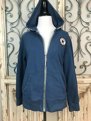 Details about Converse All Star Girls Blue Full Zip Hoodie Girls size Large (12 13 years)