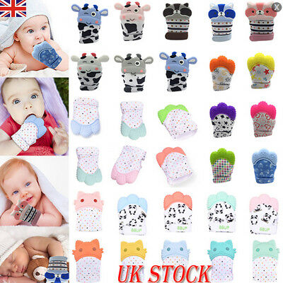 Baby Silicone Mitts Teething Mitten Glove Candy Wrapper Soft Teether Chew Toy UK