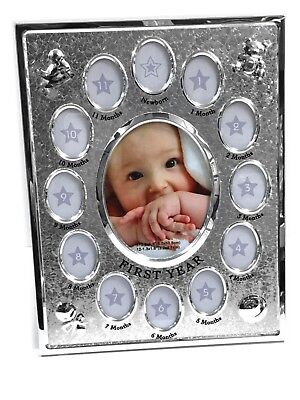 NEW Baby's First Year Photo Frame BABY BOY OR GIRL Baby Shower Newborn Gift