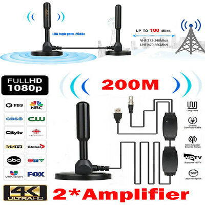New Antenna TV Digital HD 200 Mile Range 1080P 4K 16ft Coax Cable Skywire Indoor