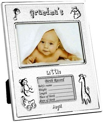 Grandmas Little Angel Birth Record Photo Frame BABY Boy Girl Shower Newborn Gift