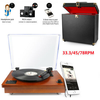 1Byone Bluetooth Turntable Vintage Record Player Speaker + Storage Case Wooden
