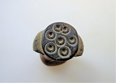 """Late Roman,bronze ring decorated with """"Evil Eye"""" protective dots c. 4th-6th  AD."""