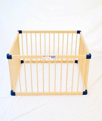 Wooden square baby playpen,  Kiddy Cots brand, easy construction, barely used