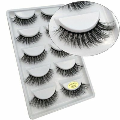 Pack of 5 3D Mink False Eyelashes Wispy Cross Long Thick Soft Fake Eye Lashes UK