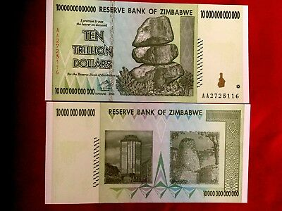 Zimbabwe 10 Trillion Dollar Unc Banknote Real Note 100 Trillion Series Collectbl