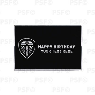 Leeds United FC Official Personalised Chrome Crest Birthday Flag Banner LB010