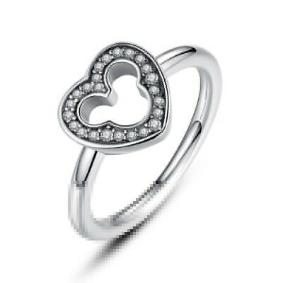 Hot 925 Silver Crystal Mickey Mouse Heart Finger Wedding Engagement Ring