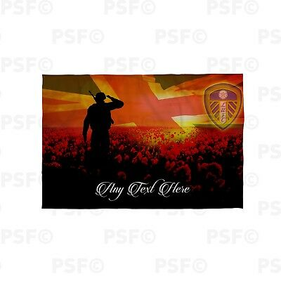 Leeds United FC Official Personalised Remembrance Day Poppy Flag Banner LB012