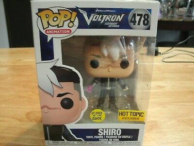 Funko Pop Animation #478 Shiro Voltron Glow in the Dark Hot Topic Excl In Hand