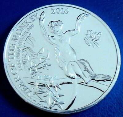 """2016 Two Pounds, """"Year of the Monkey"""" 1 tr oz .999 silver + capsule - top grade"""