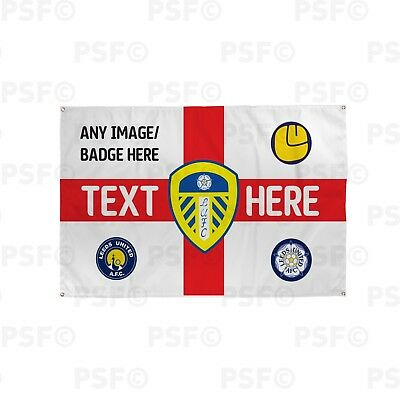 Leeds United FC Official Personalised St George England Flag Crest Banner LB015