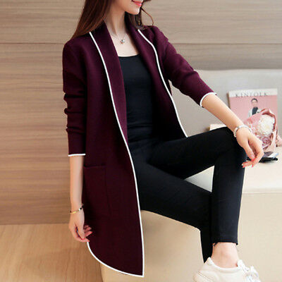 Women Female Spring Autumn Medium-long Cardigan Turn-down Collar Coat N7