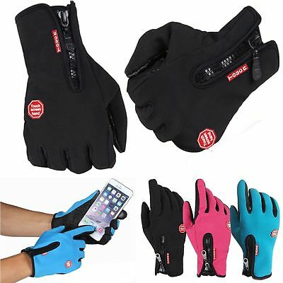 New Winter Warm Windproof Anti-slip Thermal Touch Screen Gloves Zipper UK 2019