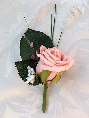 Wedding posy bouquet flowers. Corsage, bride bridesmaid, groom pink rose grass C