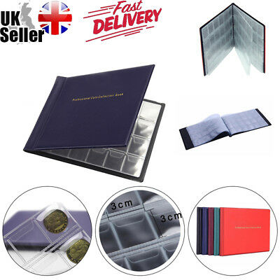 UK 120/240 Coins Penny Money Case Album Pocket Collection Holders Storage Book