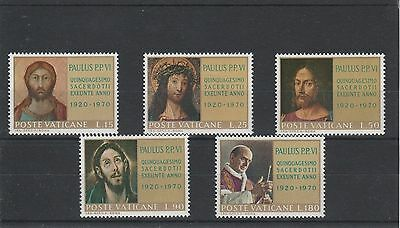 Vatican City - 1970 - 50Th Anniv. Of Pope Paul`s Ordination - Set (5V) - Mnh