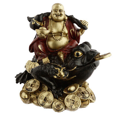 Chinese Buddha Sitting on Wealth Toad Ornament