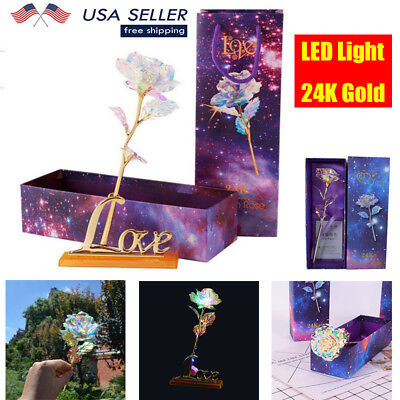 24K Gold Plated Rose Dipped Flowers Valentine's Day Birthday Gift Lovers' + Box