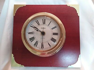 Vintage brass clock on mounted wooden plaque (nautical style) -  Staiger