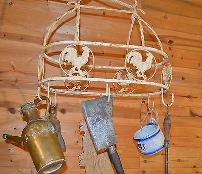 Vintage Rustic Iron Country Kitchen Hanging Ceiling Pot Utensil Rack Roosters