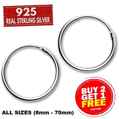 925 SMALL LARGE SILVER HOOP EARRINGS 8-70mm SOLID CLIP SET BALL CZ NOSE ON RINGS